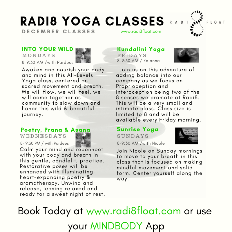 December Yoga Class Schedule at Radi8 Float Studio